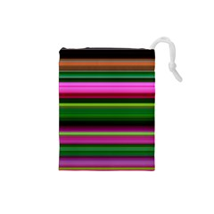 Multi Colored Stripes Background Wallpaper Drawstring Pouches (Small)