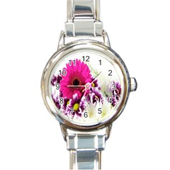 Pink Purple And White Flower Bouquet Round Italian Charm Watch