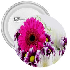 Pink Purple And White Flower Bouquet 3  Buttons