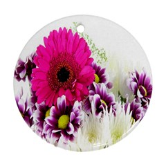 Pink Purple And White Flower Bouquet Ornament (round)