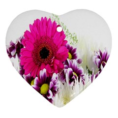 Pink Purple And White Flower Bouquet Ornament (Heart)