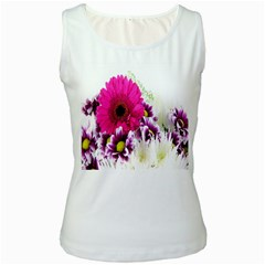 Pink Purple And White Flower Bouquet Women s White Tank Top