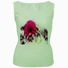 Pink Purple And White Flower Bouquet Women s Green Tank Top