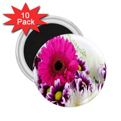 Pink Purple And White Flower Bouquet 2 25  Magnets (10 Pack)