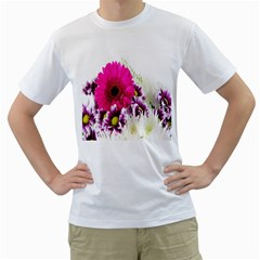 Pink Purple And White Flower Bouquet Men s T Shirt (white) (two Sided)