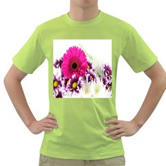 Pink Purple And White Flower Bouquet Green T Shirt