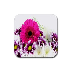 Pink Purple And White Flower Bouquet Rubber Coaster (Square)