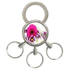 Pink Purple And White Flower Bouquet 3-Ring Key Chains