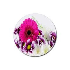 Pink Purple And White Flower Bouquet Rubber Round Coaster (4 Pack)