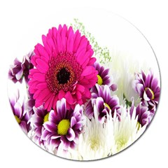 Pink Purple And White Flower Bouquet Magnet 5  (Round)
