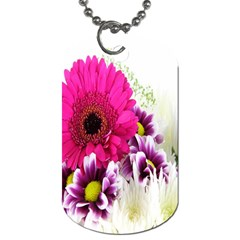 Pink Purple And White Flower Bouquet Dog Tag (two Sides)