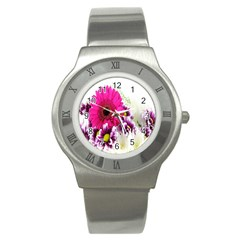 Pink Purple And White Flower Bouquet Stainless Steel Watch