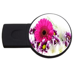 Pink Purple And White Flower Bouquet USB Flash Drive Round (4 GB)