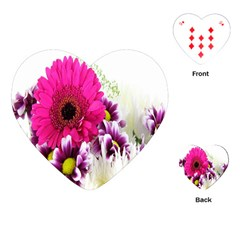 Pink Purple And White Flower Bouquet Playing Cards (heart)