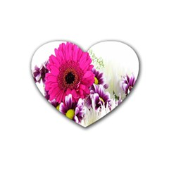 Pink Purple And White Flower Bouquet Heart Coaster (4 Pack)