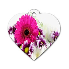 Pink Purple And White Flower Bouquet Dog Tag Heart (two Sides)