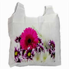 Pink Purple And White Flower Bouquet Recycle Bag (two Side)