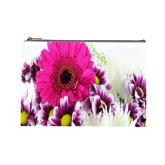 Pink Purple And White Flower Bouquet Cosmetic Bag (large)