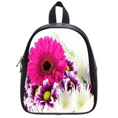 Pink Purple And White Flower Bouquet School Bags (small)