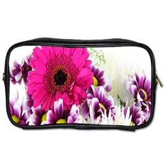 Pink Purple And White Flower Bouquet Toiletries Bags 2 Side