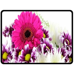 Pink Purple And White Flower Bouquet Fleece Blanket (large)