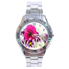 Pink Purple And White Flower Bouquet Stainless Steel Analogue Watch