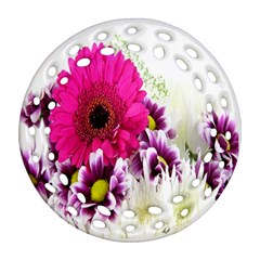 Pink Purple And White Flower Bouquet Ornament (round Filigree)