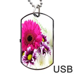 Pink Purple And White Flower Bouquet Dog Tag Usb Flash (two Sides)
