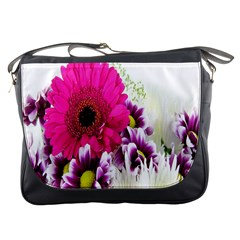 Pink Purple And White Flower Bouquet Messenger Bags