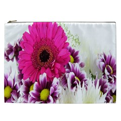 Pink Purple And White Flower Bouquet Cosmetic Bag (XXL)