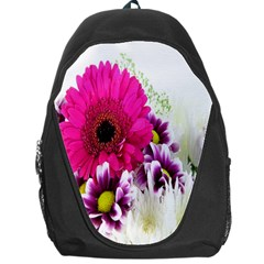 Pink Purple And White Flower Bouquet Backpack Bag