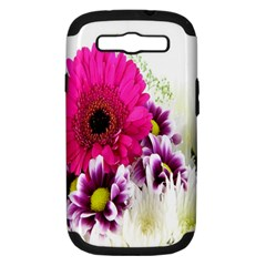 Pink Purple And White Flower Bouquet Samsung Galaxy S III Hardshell Case (PC+Silicone)
