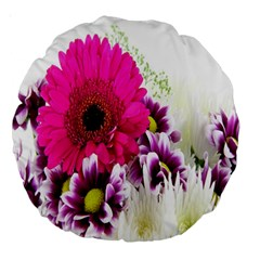 Pink Purple And White Flower Bouquet Large 18  Premium Round Cushions
