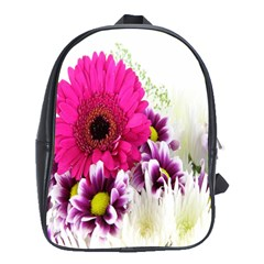 Pink Purple And White Flower Bouquet School Bags (xl)