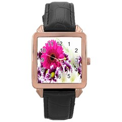 Pink Purple And White Flower Bouquet Rose Gold Leather Watch