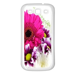 Pink Purple And White Flower Bouquet Samsung Galaxy S3 Back Case (White)