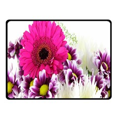 Pink Purple And White Flower Bouquet Double Sided Fleece Blanket (Small)