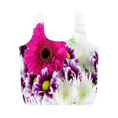 Pink Purple And White Flower Bouquet Full Print Recycle Bags (M)