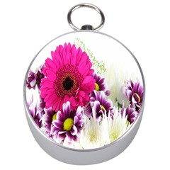 Pink Purple And White Flower Bouquet Silver Compasses