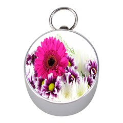 Pink Purple And White Flower Bouquet Mini Silver Compasses