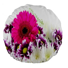 Pink Purple And White Flower Bouquet Large 18  Premium Flano Round Cushions
