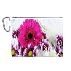 Pink Purple And White Flower Bouquet Canvas Cosmetic Bag (l)