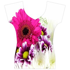 Pink Purple And White Flower Bouquet Women s V-Neck Cap Sleeve Top