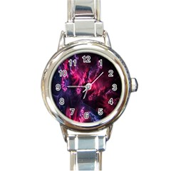 Abstract Fractal Background Wallpaper Round Italian Charm Watch