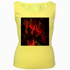 Abstract Fractal Background Wallpaper Women s Yellow Tank Top