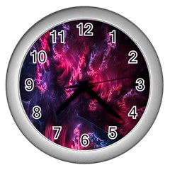 Abstract Fractal Background Wallpaper Wall Clocks (silver)