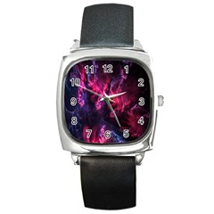 Abstract Fractal Background Wallpaper Square Metal Watch