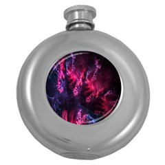 Abstract Fractal Background Wallpaper Round Hip Flask (5 oz)
