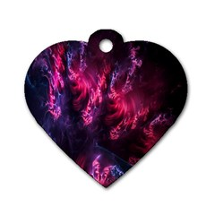 Abstract Fractal Background Wallpaper Dog Tag Heart (Two Sides)