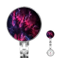Abstract Fractal Background Wallpaper Stainless Steel Nurses Watch